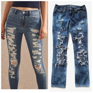 American Eagle Destroyed Distressed Skinny Jeans